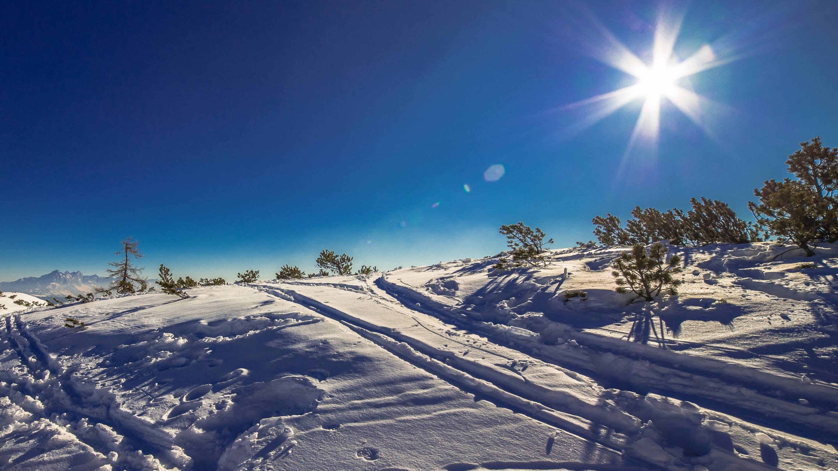 Sunny day in this Winter landscape wallpaper 2880x1620