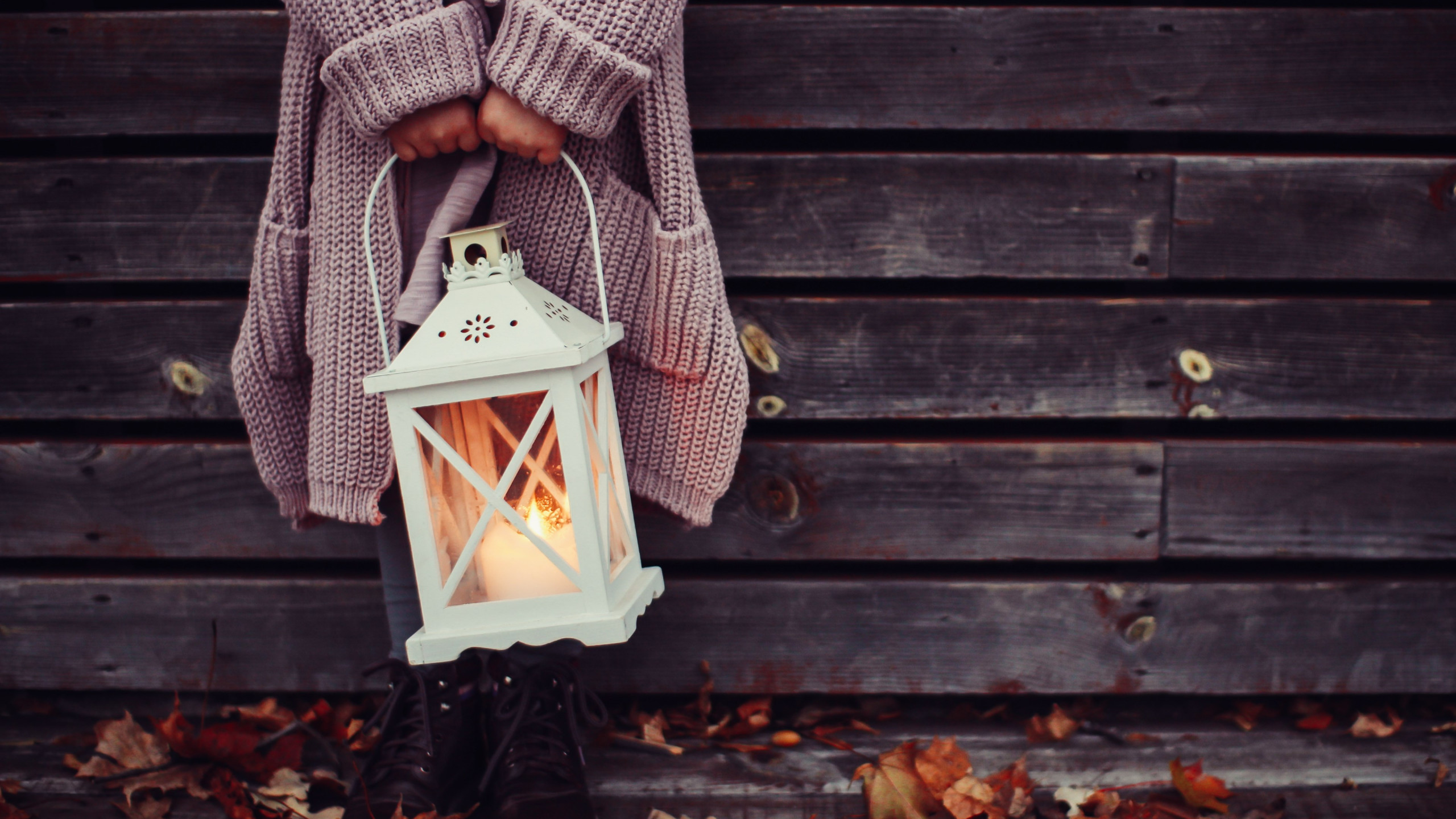 Autumn leaves and a child with lantern | 2560x1440 wallpaper