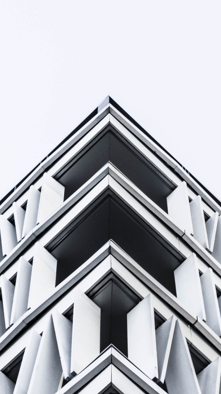 Black and white architecture from Madrid, Spain wallpaper 750x1334