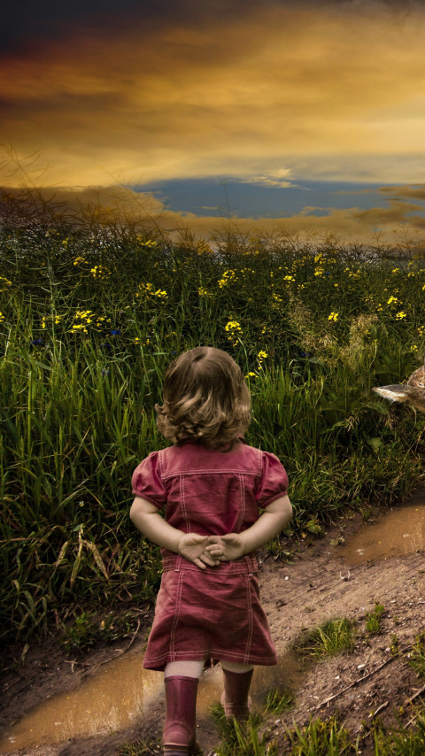 Children, sheep and deer wallpaper 480x854