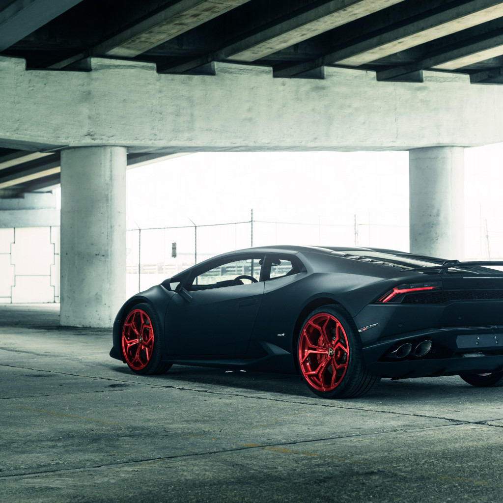 Vellano Matte Black Lamborghini Huracan on Red 3 wallpaper 1024x1024