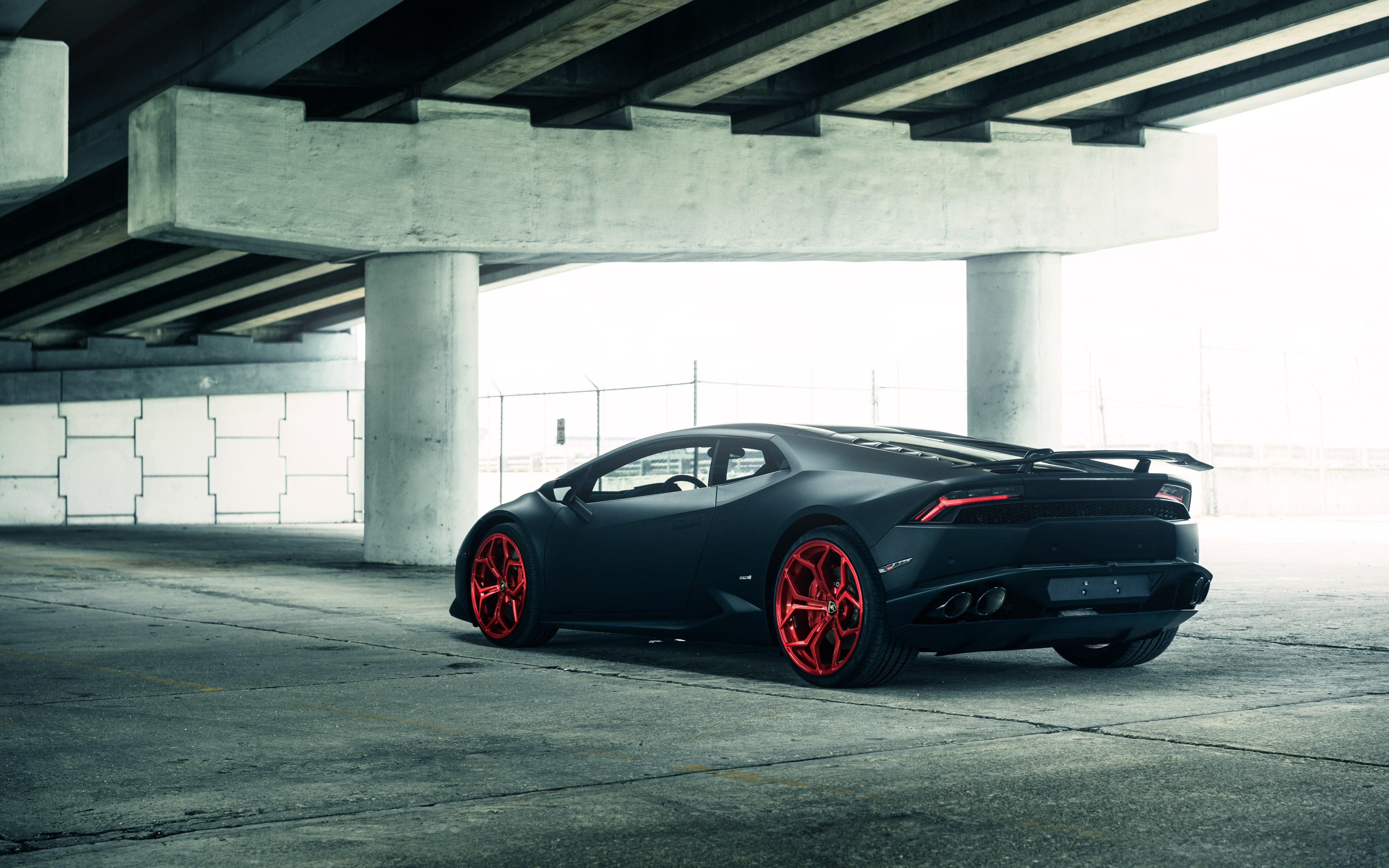 Download Wallpaper Vellano Matte Black Lamborghini Huracan On Red 3