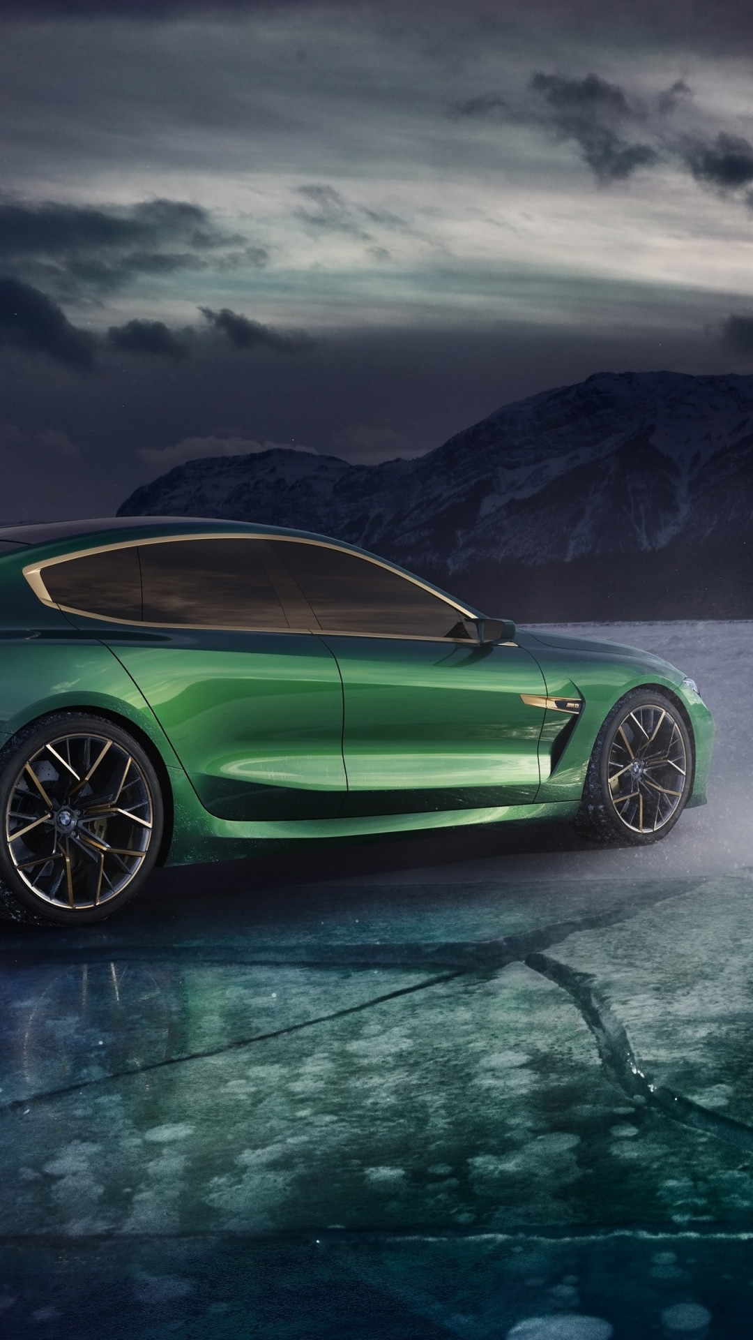 BMW Concept M8 Gran Coupe 2018 rear side wallpaper 1080x1920