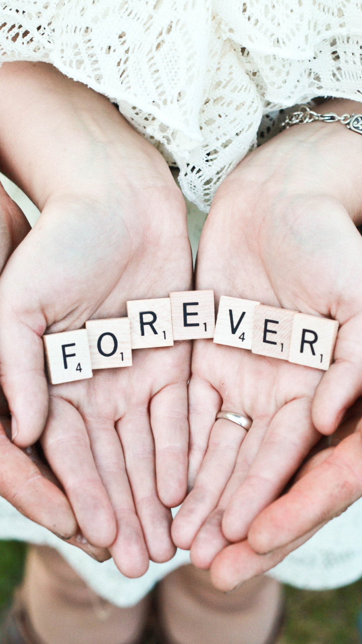Forever message in their hands | 1242x2208 wallpaper