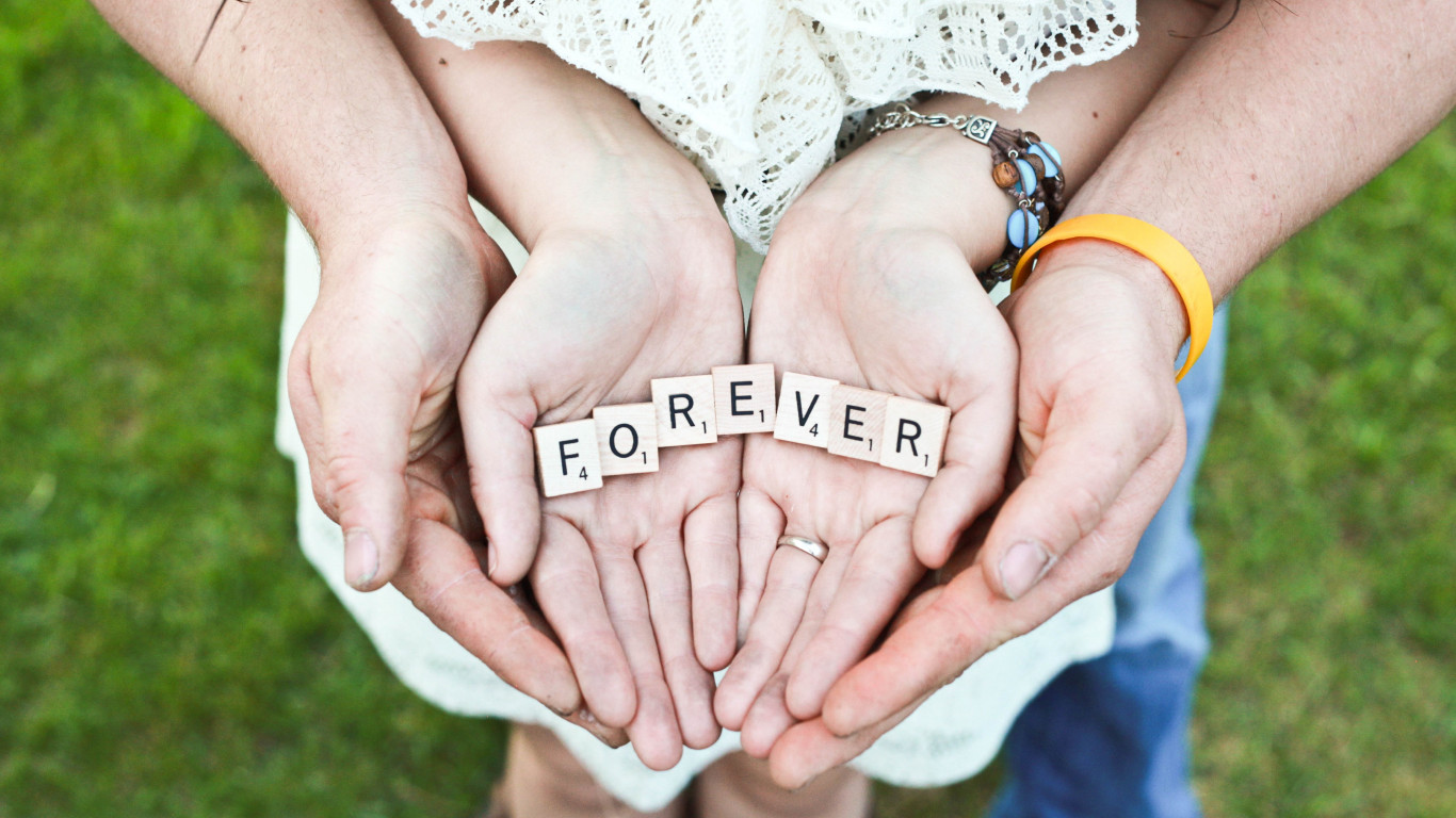 Forever message in their hands wallpaper 1366x768