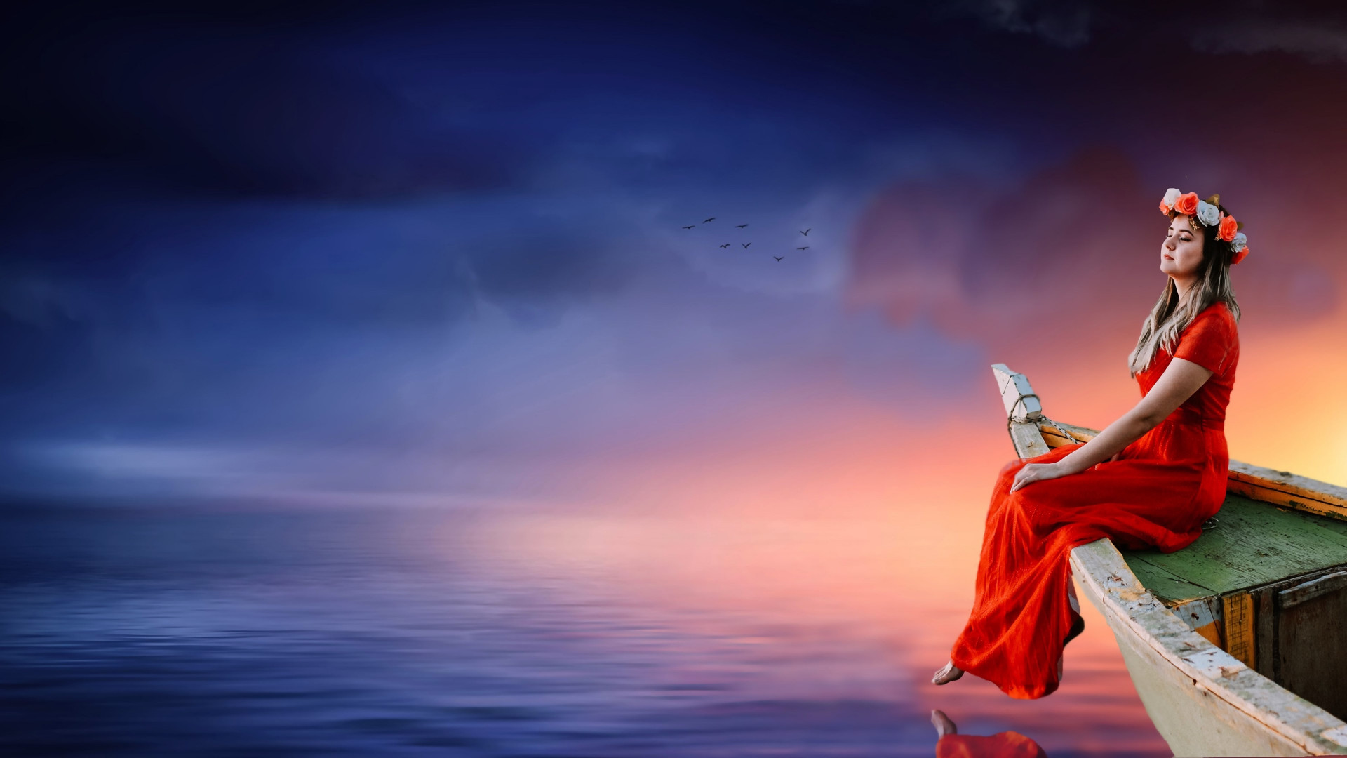 Beautiful girl, sunset, boat, lake, dreaming wallpaper 1920x1080
