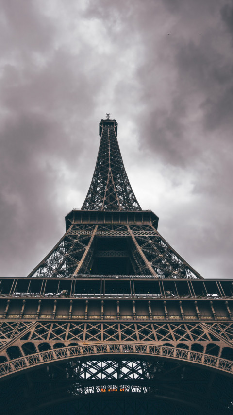 Eiffel Tower in a cloudy day wallpaper 480x854