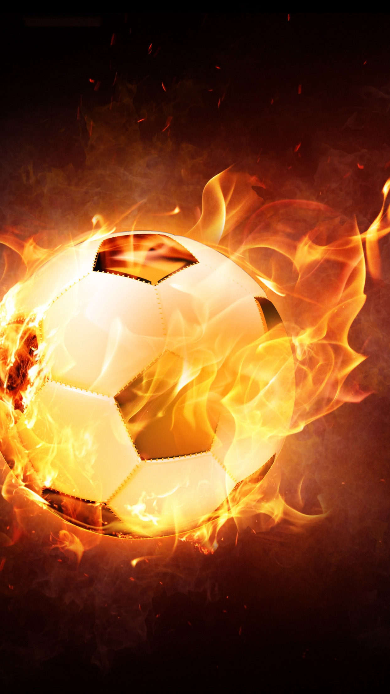 The football ball is on fire wallpaper 1242x2208
