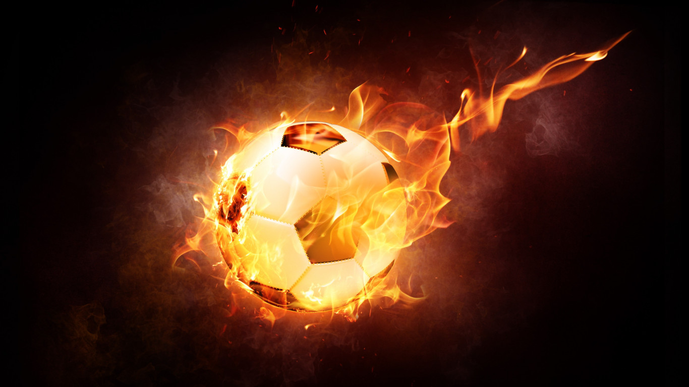 The football ball is on fire wallpaper 1366x768