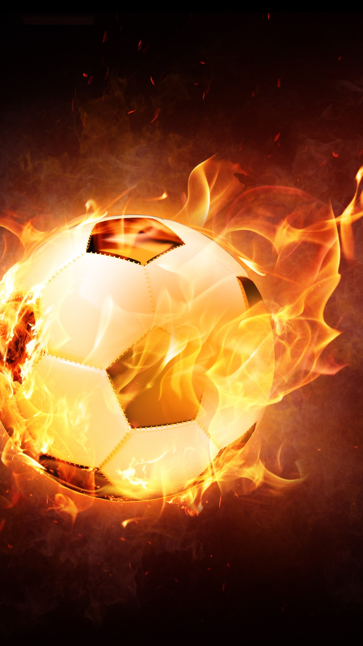 The football ball is on fire | 1440x2560 wallpaper
