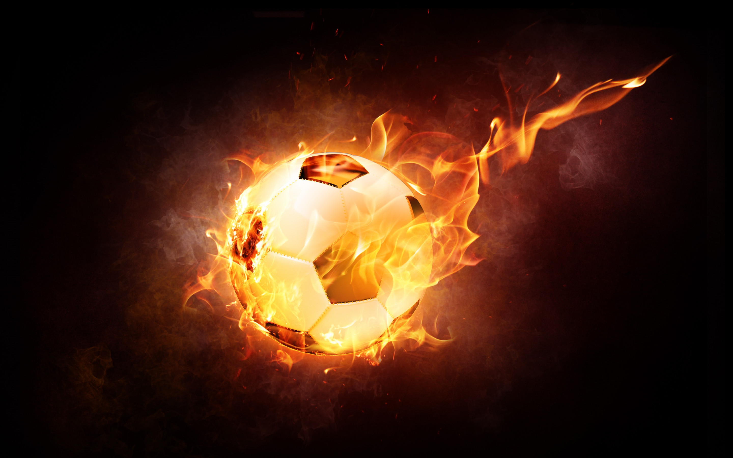 The football ball is on fire wallpaper 2880x1800