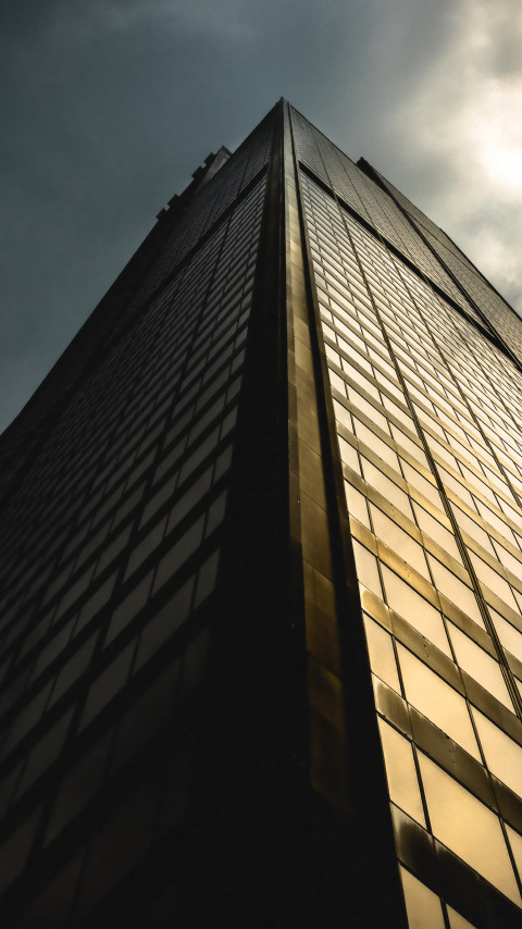 The architecture of a skyscraper wallpaper 480x854