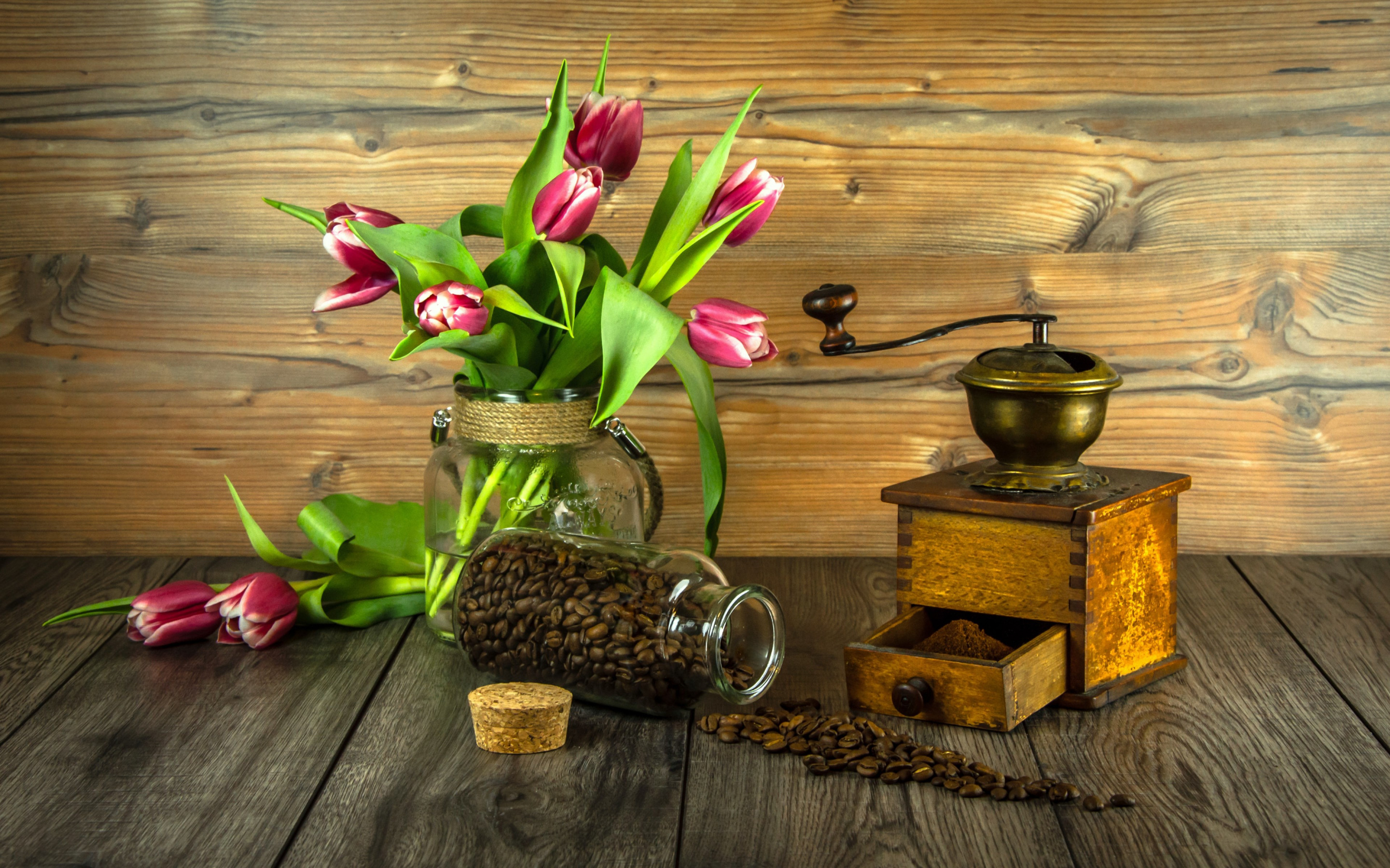 Red tulips and coffee grains wallpaper 2880x1800