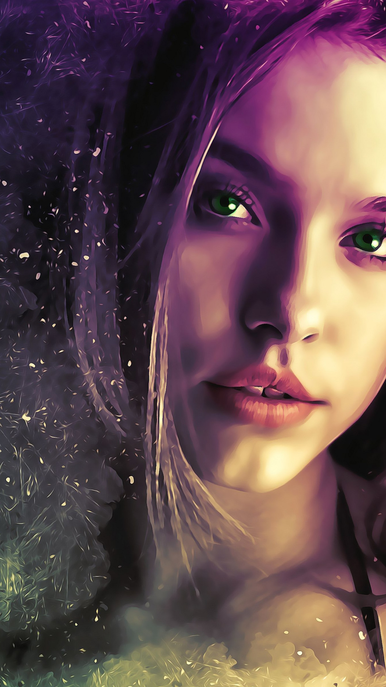 Beautiful illustration with a girl portrait wallpaper 1242x2208
