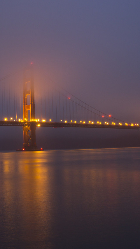 Golden Gate Bridge after the sunset | 480x854 wallpaper