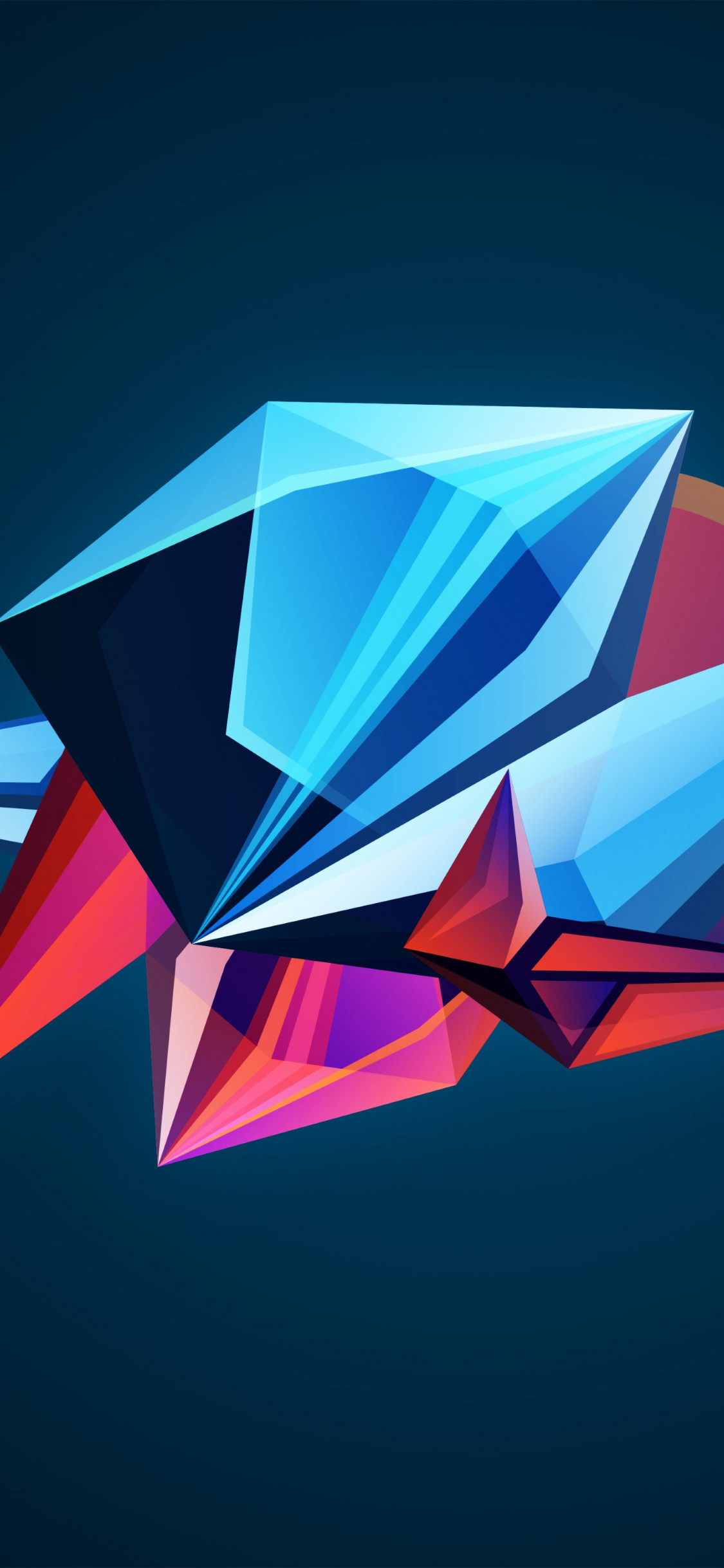 Abstract 3D shapes wallpaper 1125x2436