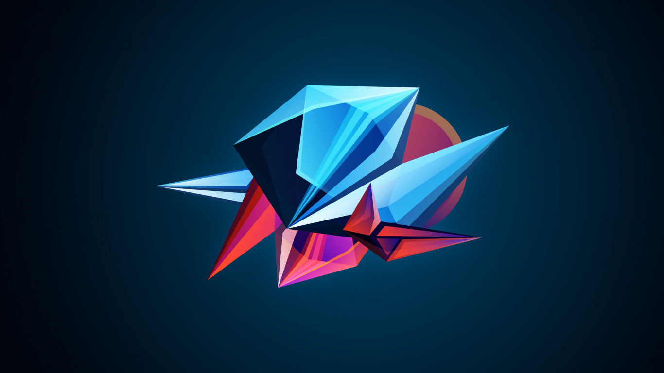 Abstract 3D shapes wallpaper 1366x768