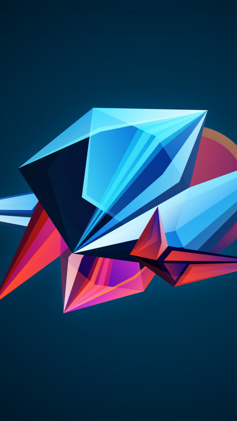 Abstract 3D shapes wallpaper 480x854