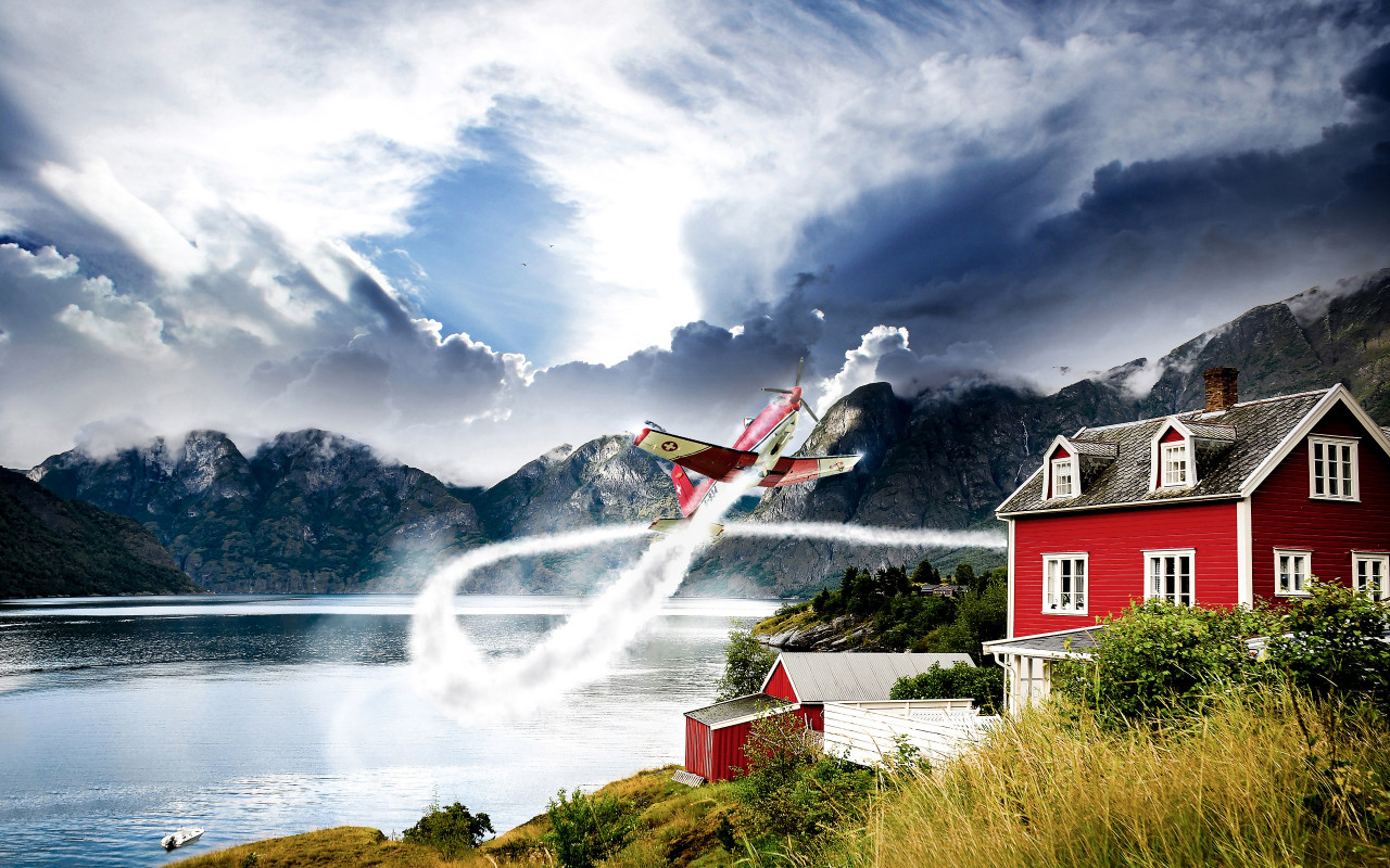 Norway vastness and one airplane wallpaper 1280x800