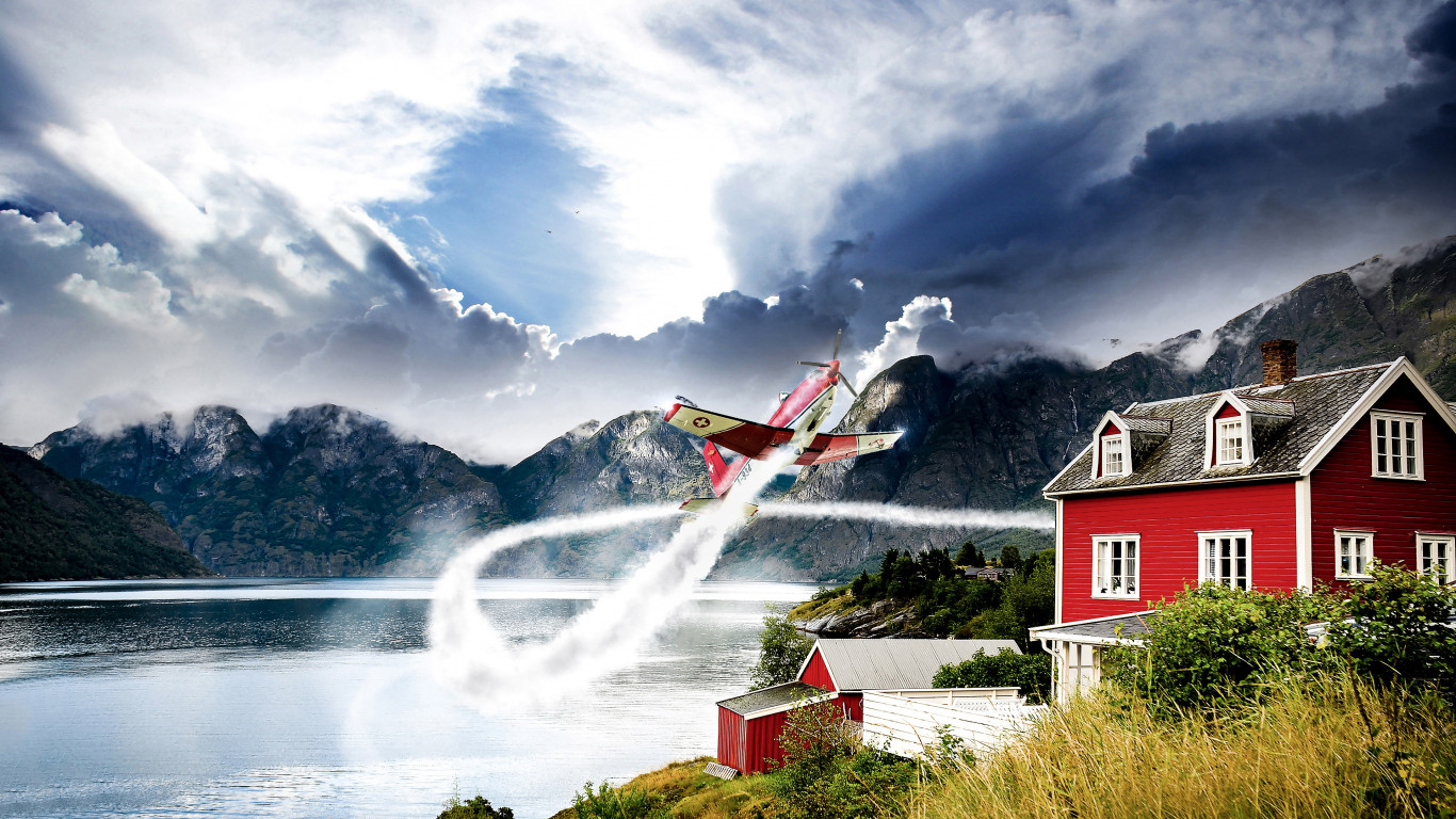 Norway vastness and one airplane wallpaper 1366x768