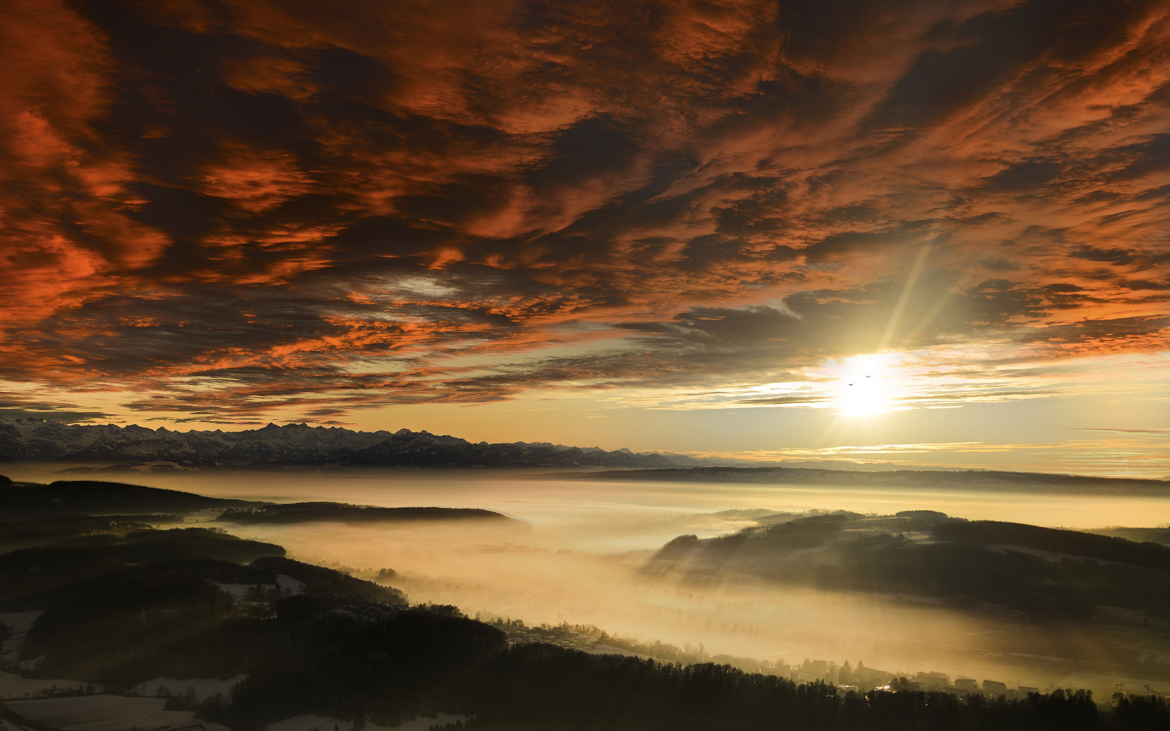 Sunset from Uetliberg, Switzerland wallpaper 1680x1050