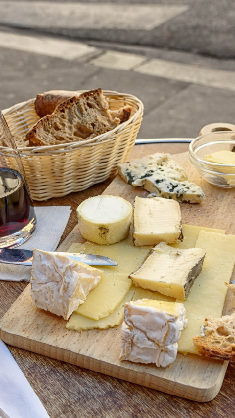 Cheese, wine and bread. Good food and drink wallpaper 480x854