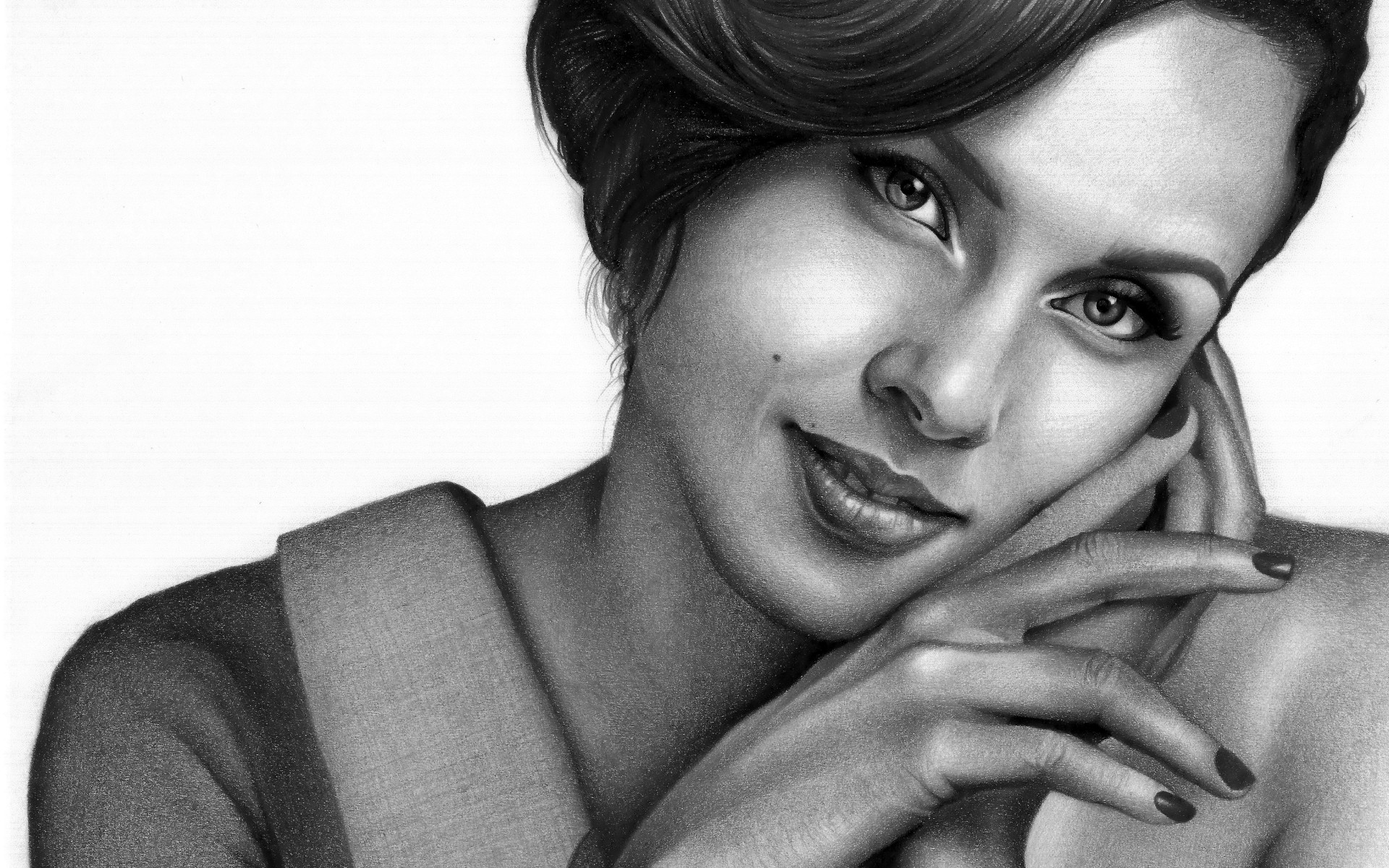 The drawn portrait of Alicia Keys wallpaper 1920x1200