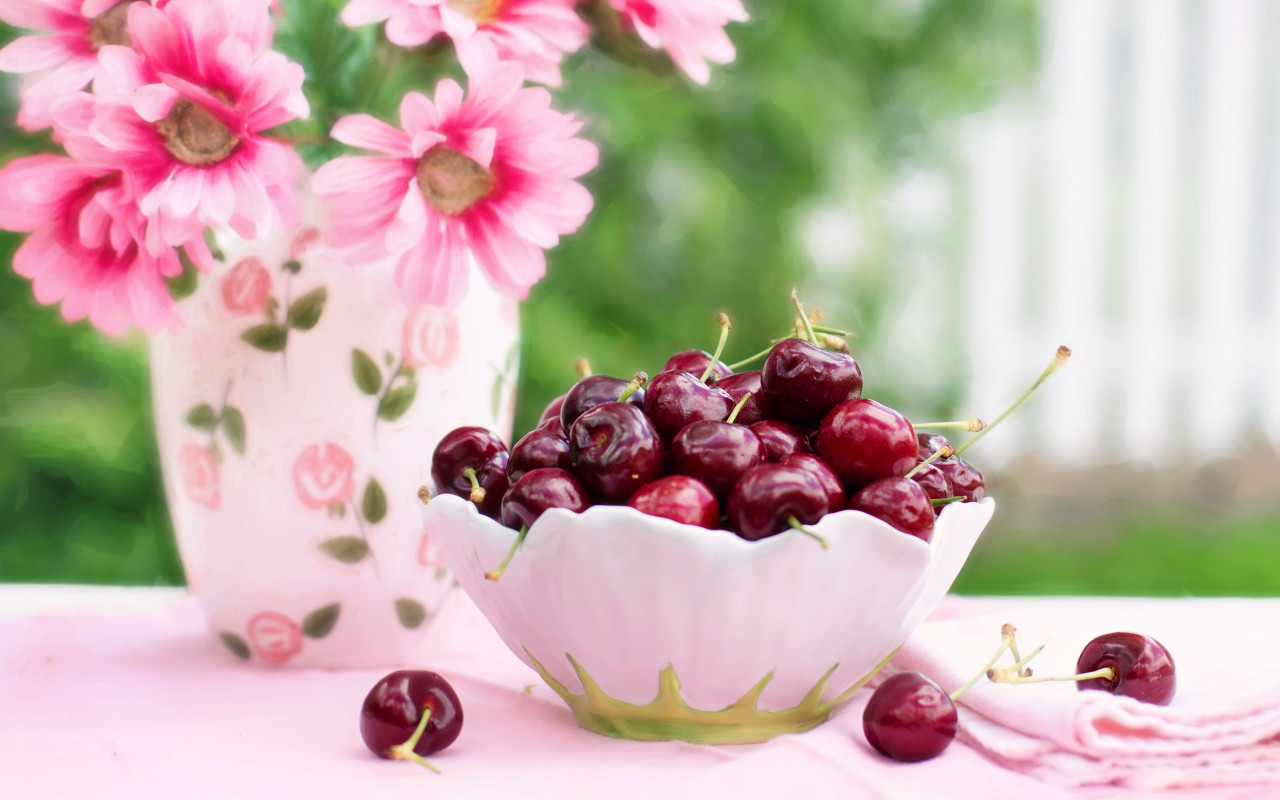 Cherries in a Bowl wallpaper 1280x800