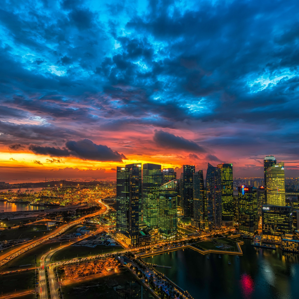 Panoramic view of Singapore | 1024x1024 wallpaper