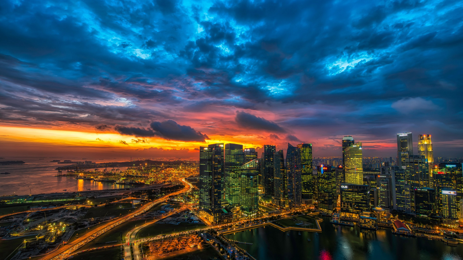 Panoramic view of Singapore wallpaper 1600x900