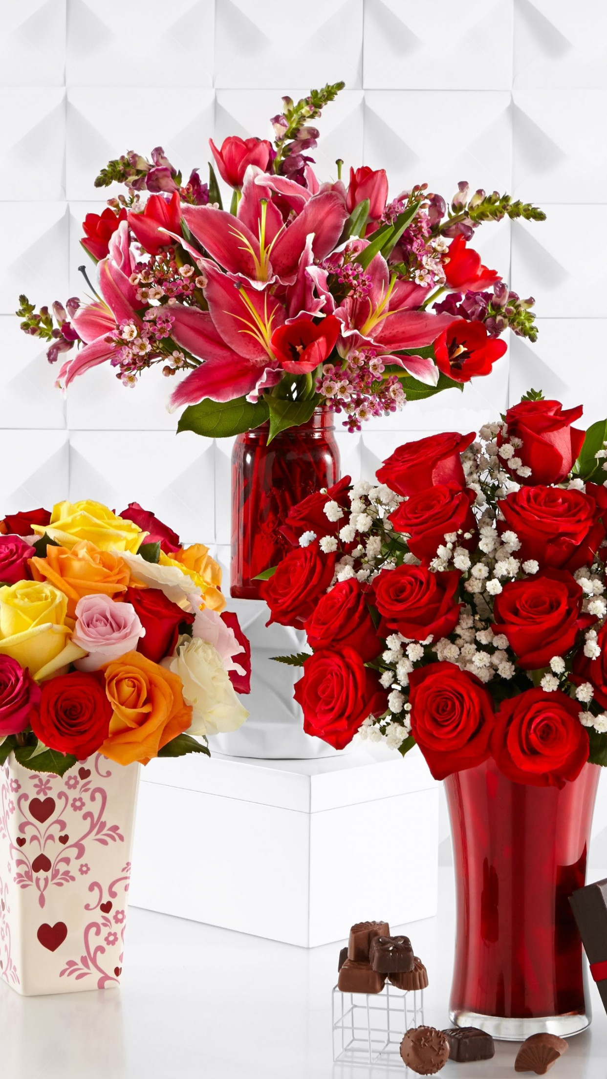 Bouquets of roses, lilies and tulips wallpaper 1242x2208