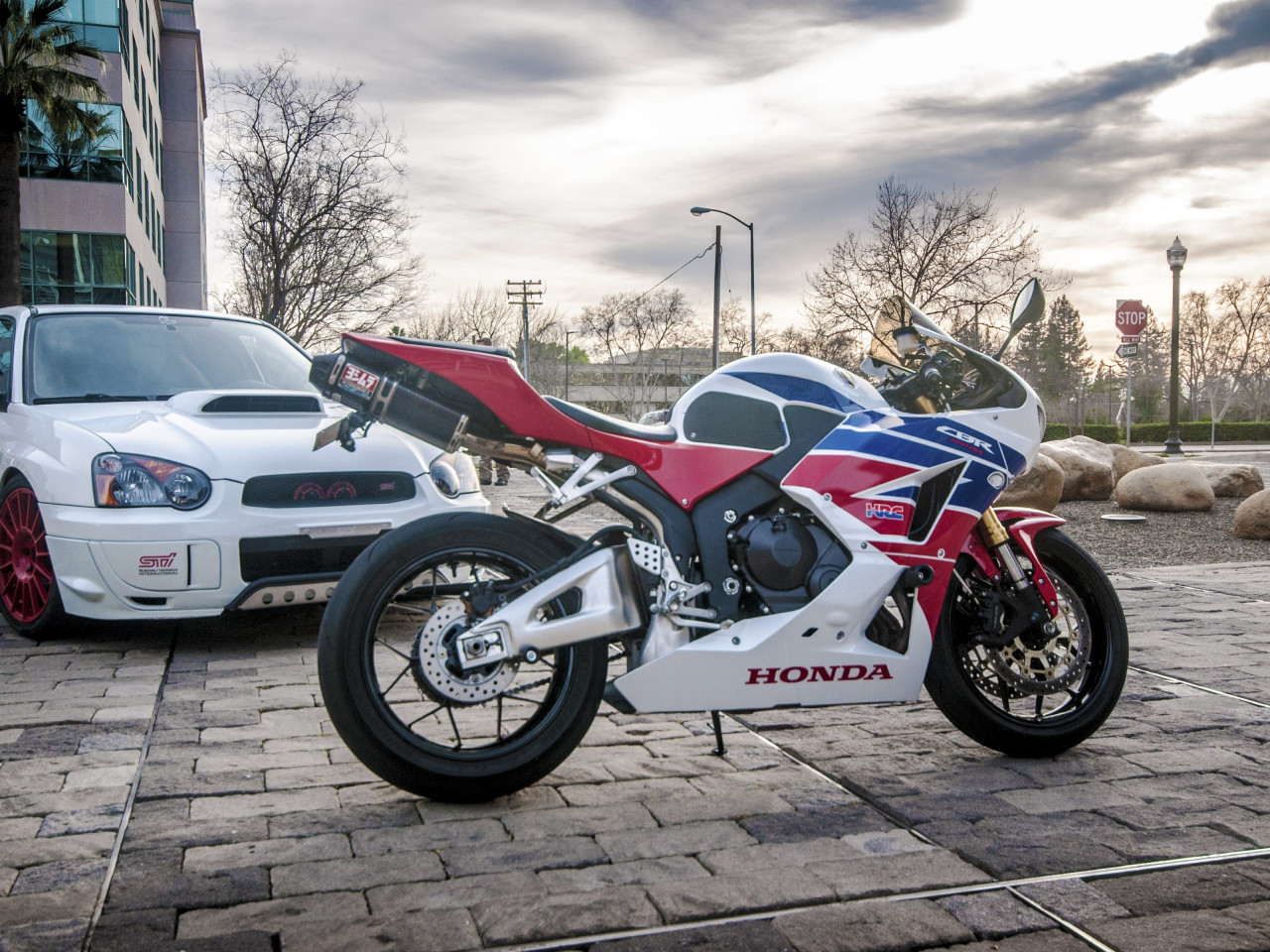 Honda CBR and Subaru WRX wallpaper 1280x960