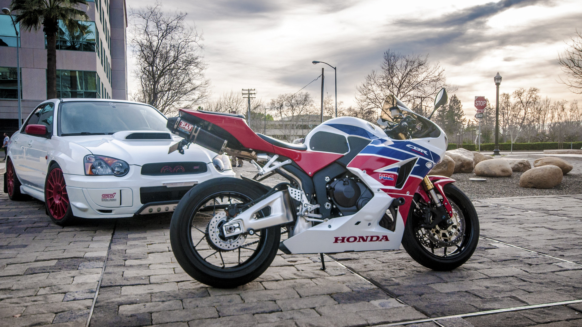 Honda CBR and Subaru WRX wallpaper 1920x1080