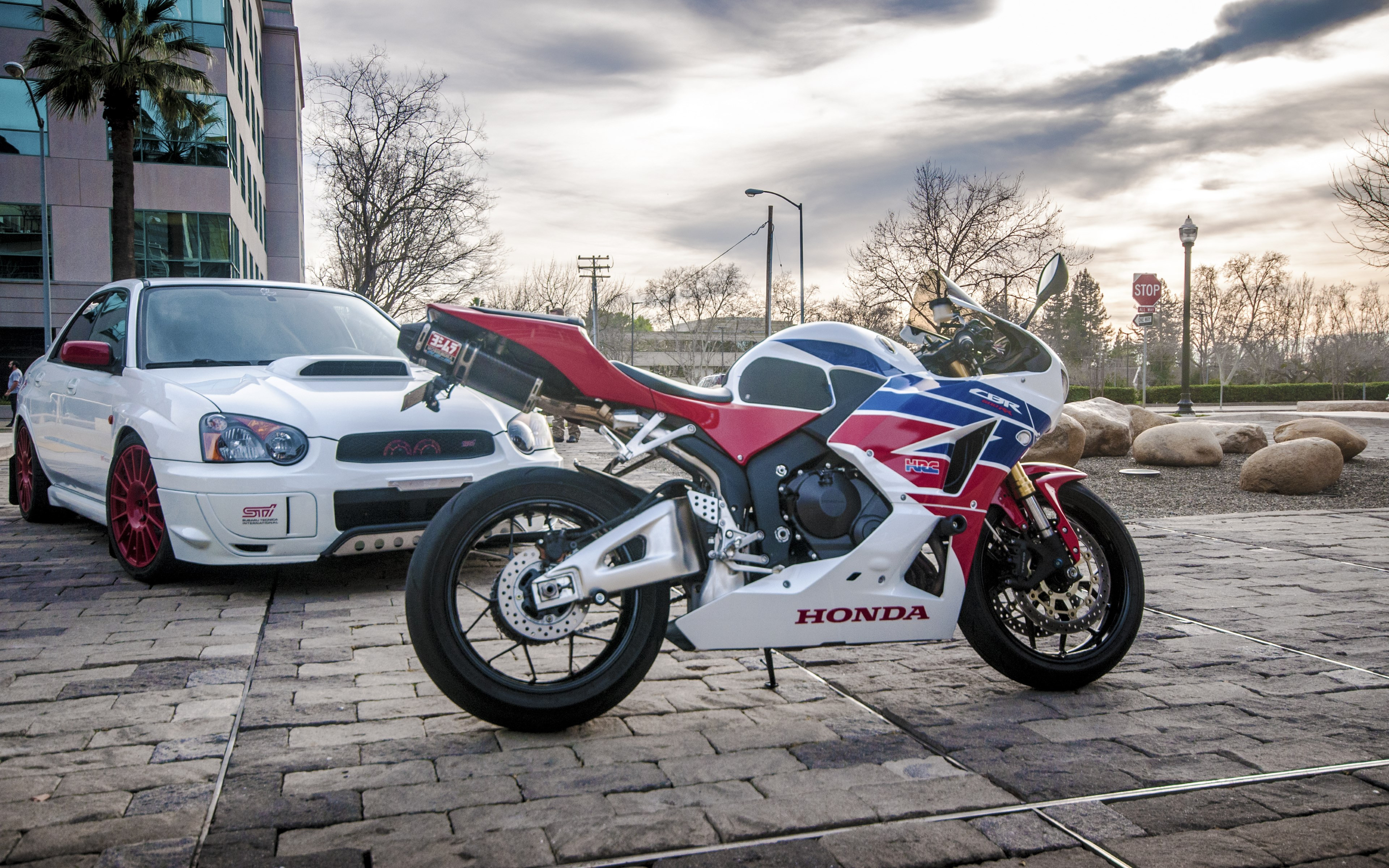 Honda CBR and Subaru WRX wallpaper 3840x2400