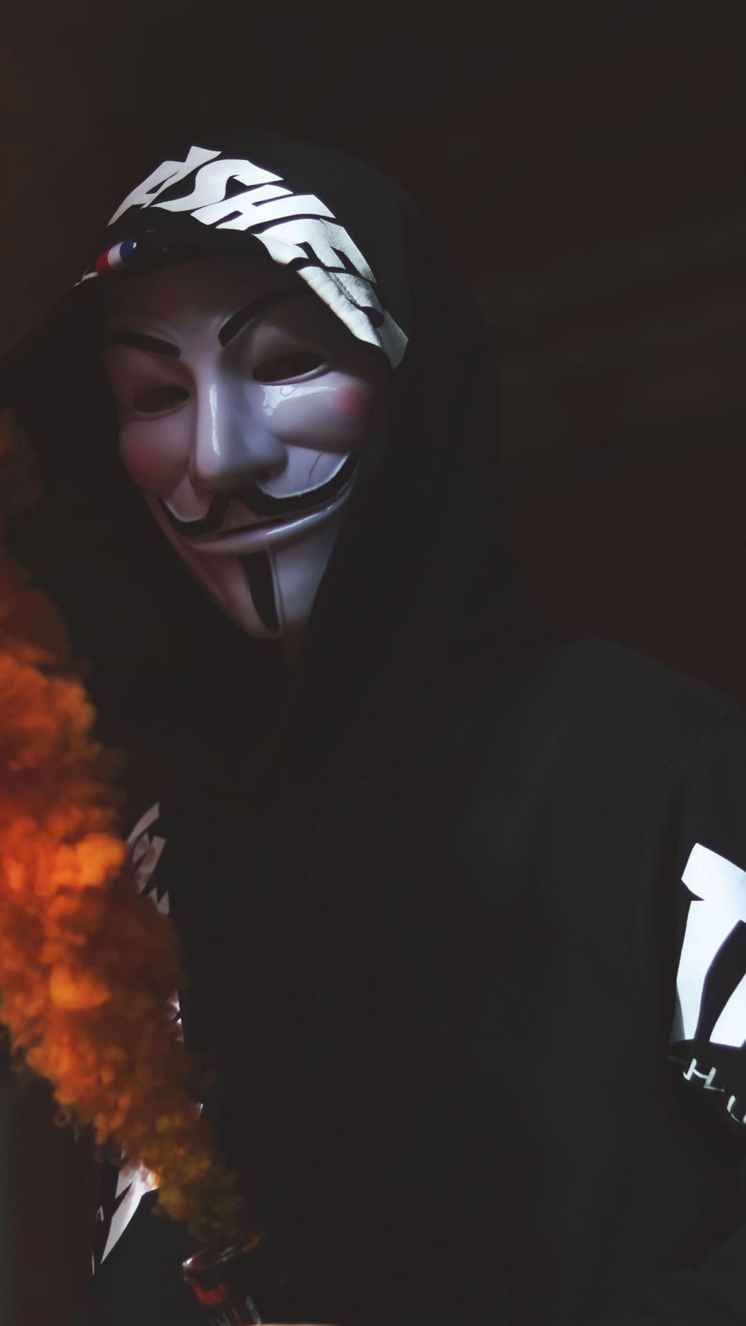 Anonymous mask and orange smoke   1080x1920 wallpaper