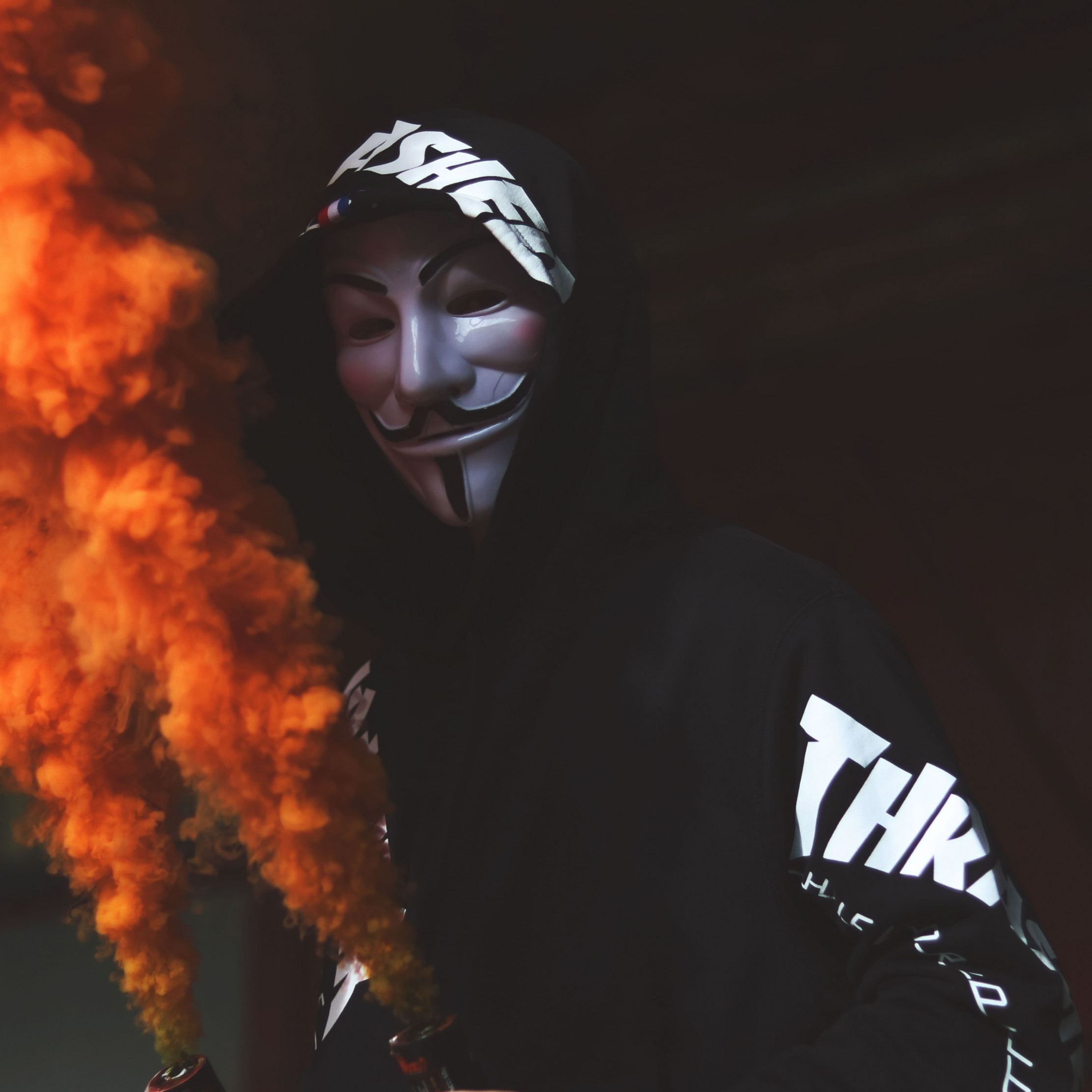 Anonymous mask and orange smoke | 2224x2224 wallpaper