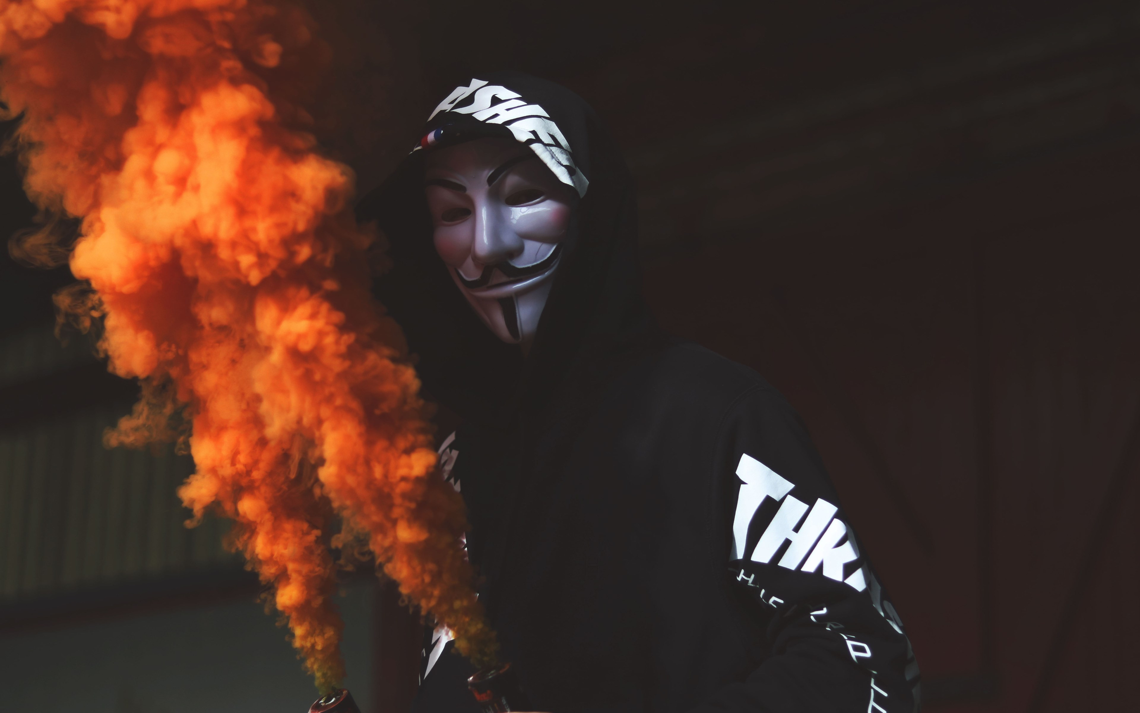 Anonymous mask and orange smoke | 3840x2400 wallpaper