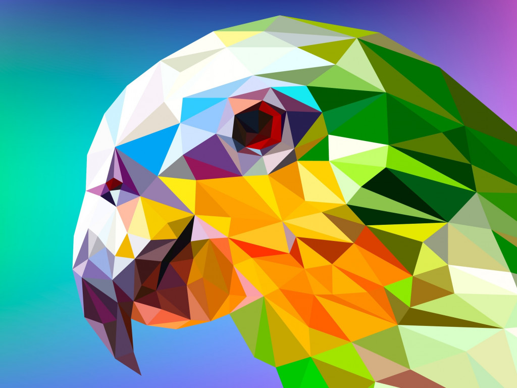 Low Poly Illustration: Parrot wallpaper 1024x768