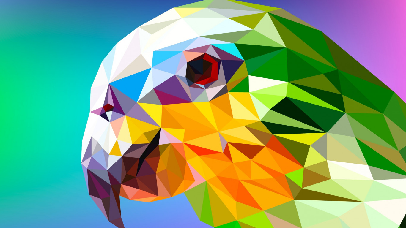 Low Poly Illustration: Parrot wallpaper 1366x768