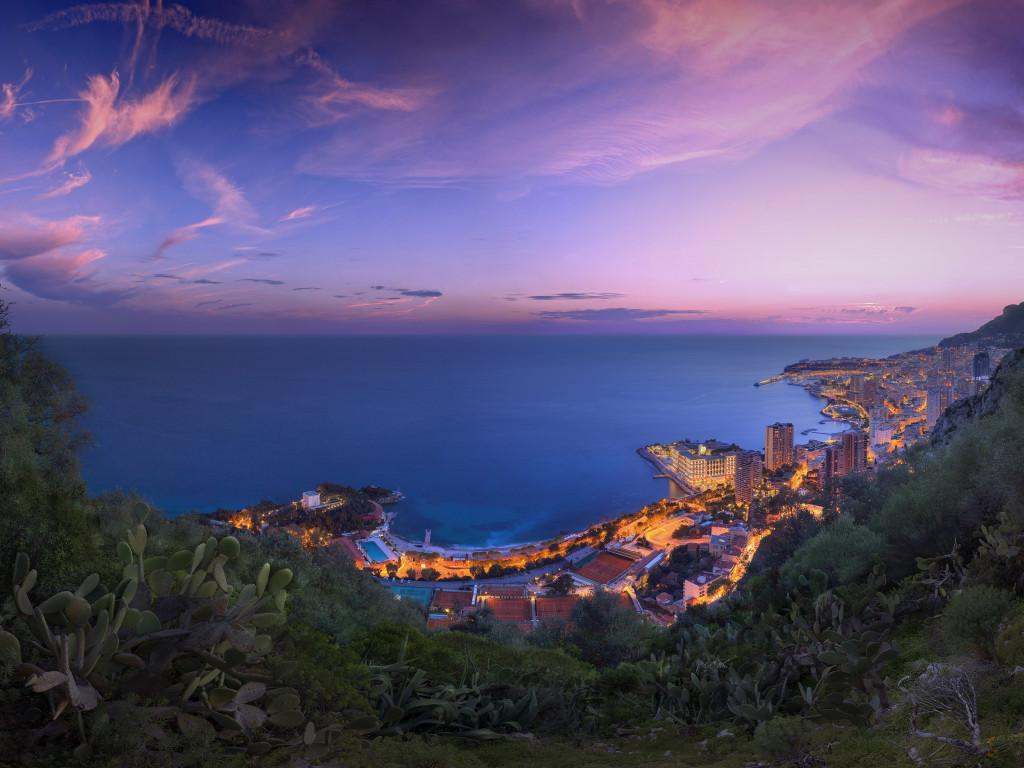 Sunset over the Monaco wallpaper 1024x768