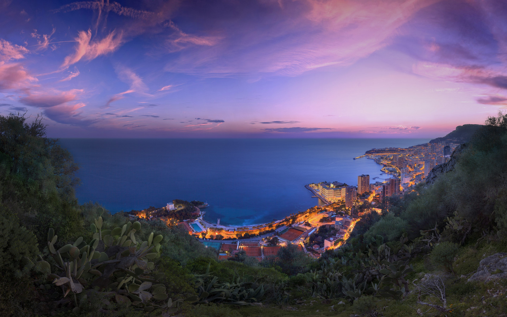 Sunset over the Monaco wallpaper 1680x1050