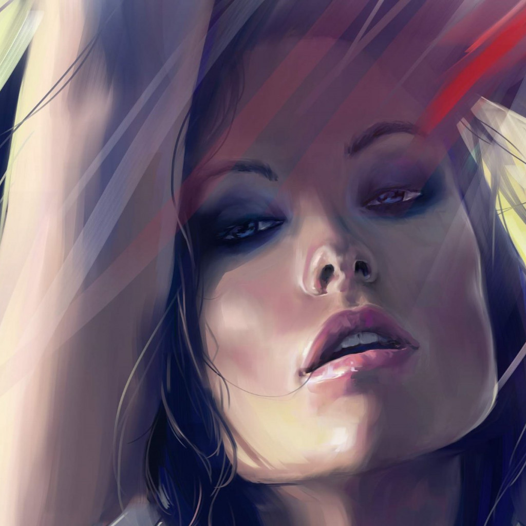 Olivia Wilde digital art portrait wallpaper 1024x1024