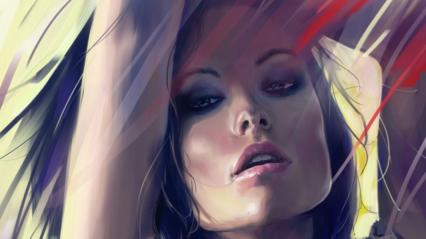 Olivia Wilde digital art portrait wallpaper 1366x768