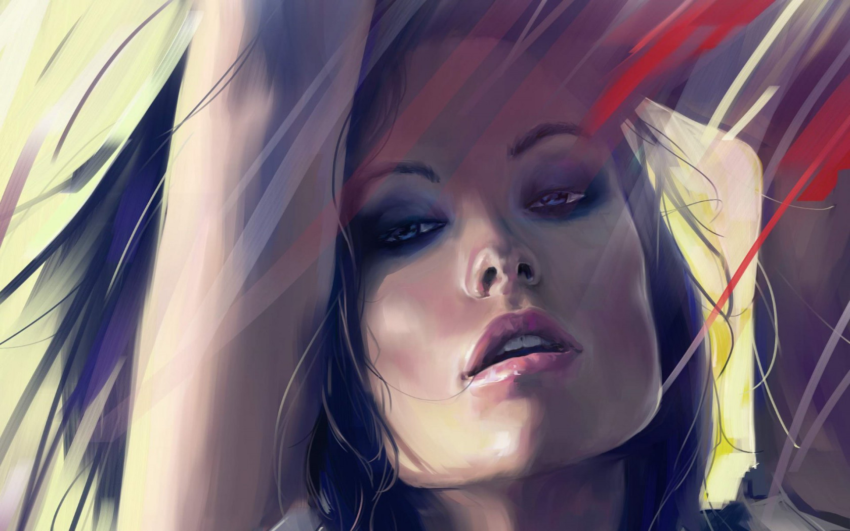 Olivia Wilde digital art portrait wallpaper 1680x1050