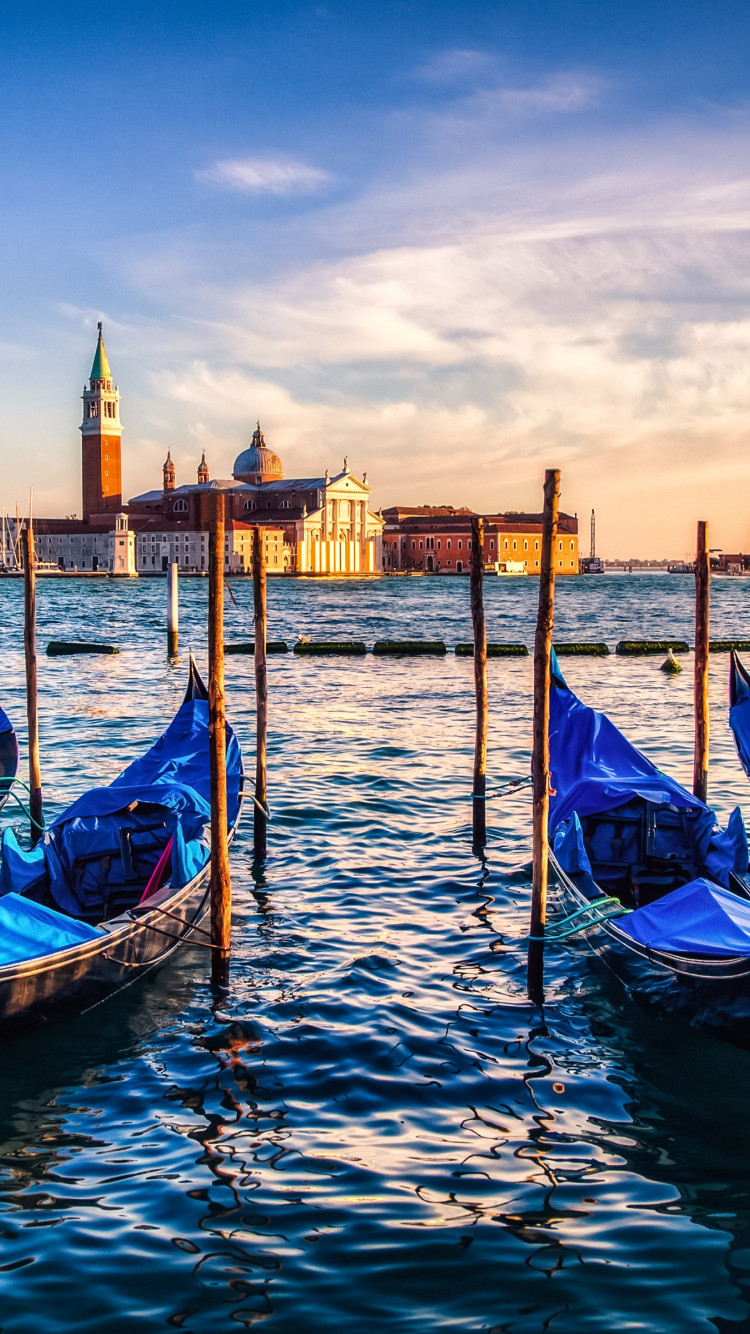 Gondolas from Venice at sunset wallpaper 750x1334