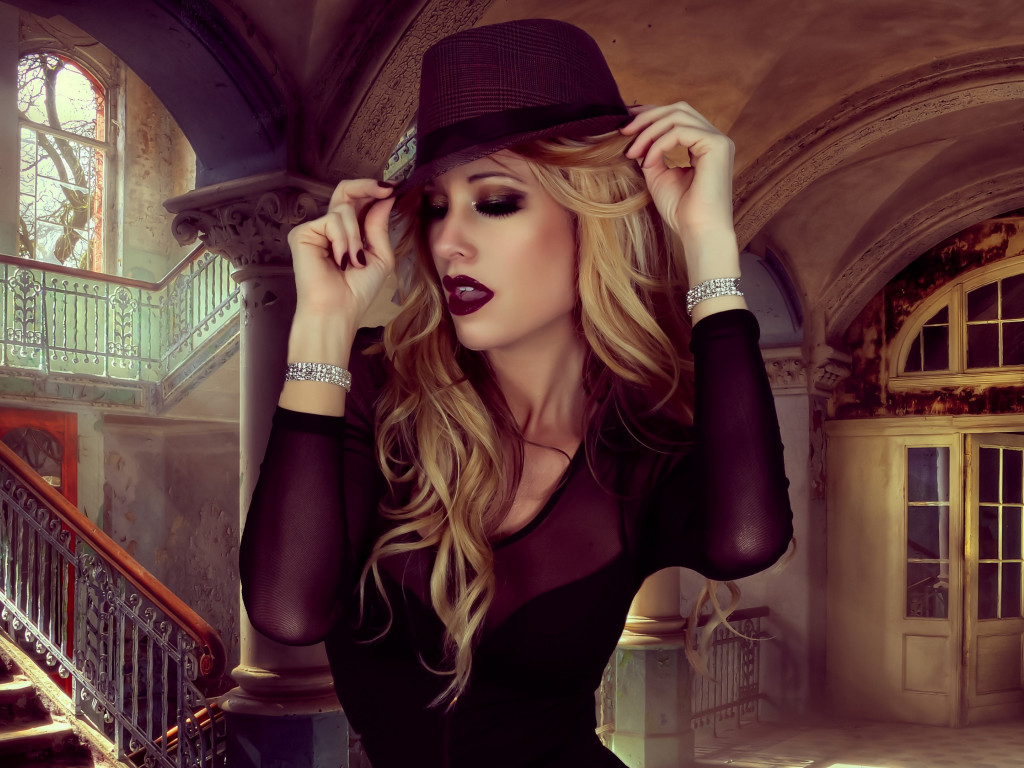 Glamour, hat, portrait, blonde, model wallpaper 1024x768
