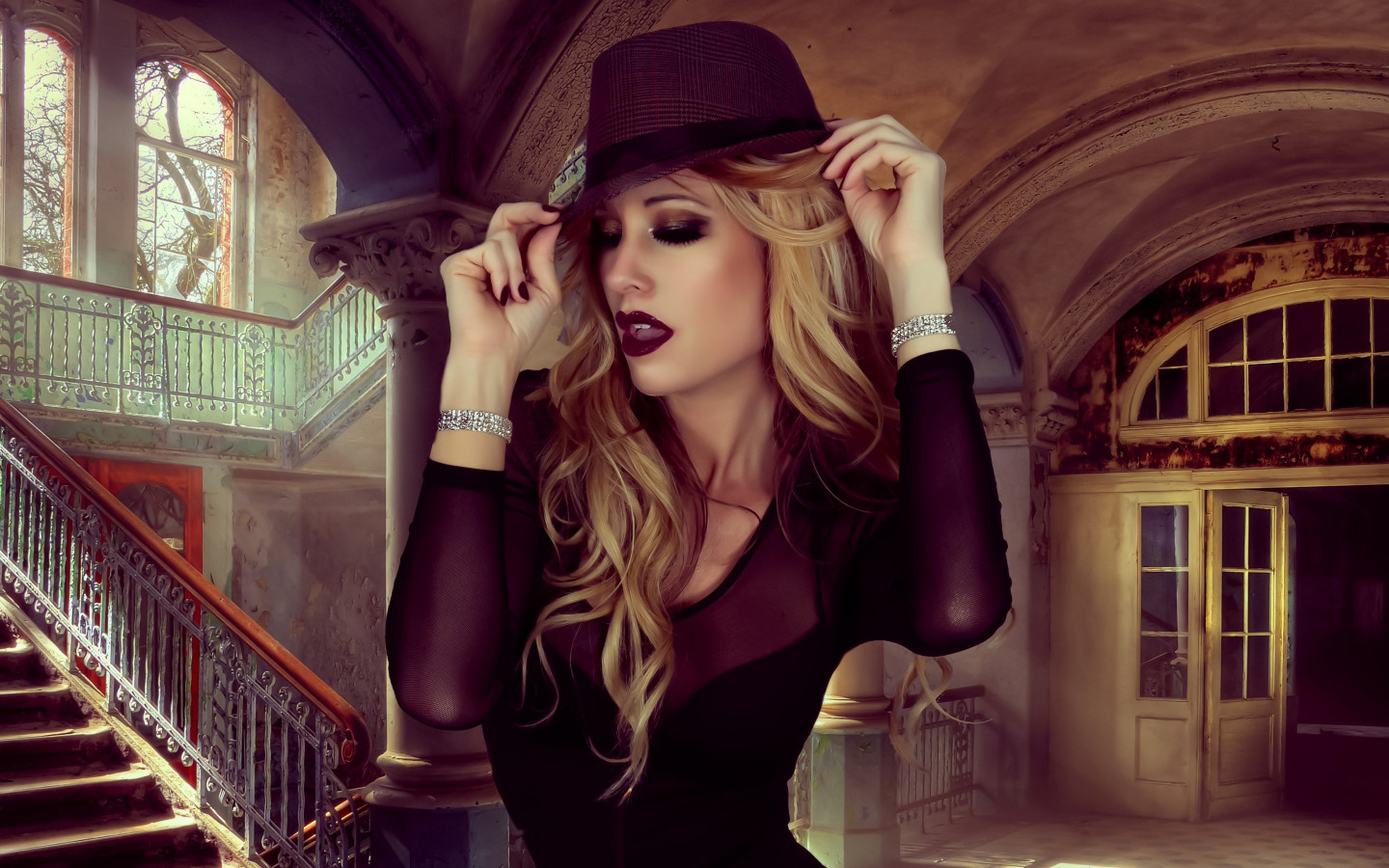 Glamour, hat, portrait, blonde, model wallpaper 1440x900