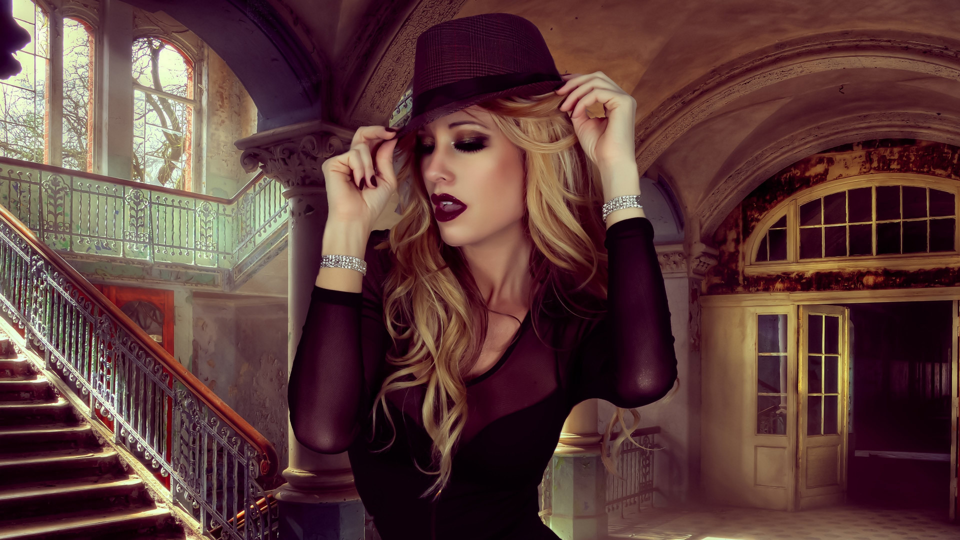 Glamour, hat, portrait, blonde, model wallpaper 1920x1080