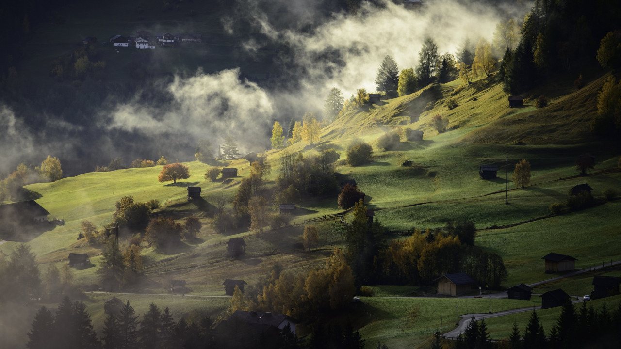 Fog, landscape and a village | 1280x720 wallpaper