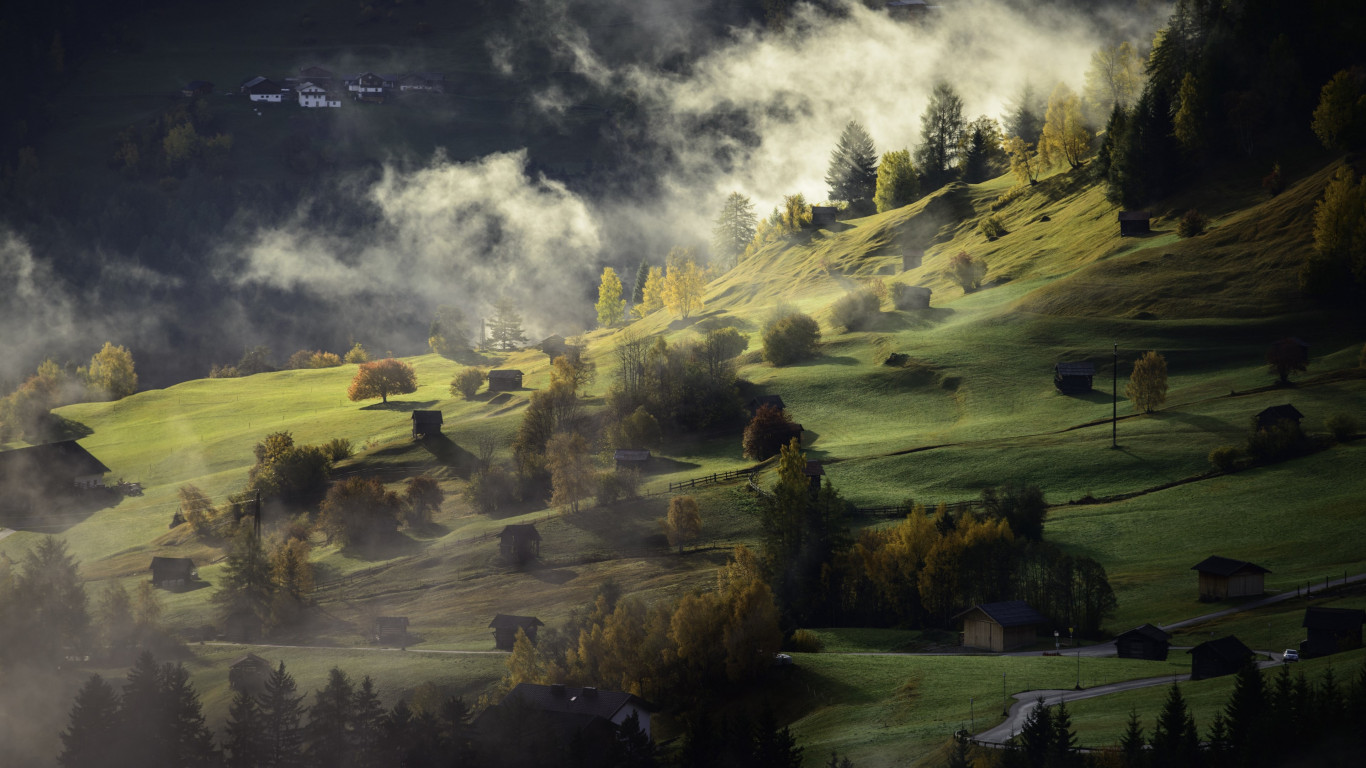 Fog, landscape and a village | 1366x768 wallpaper
